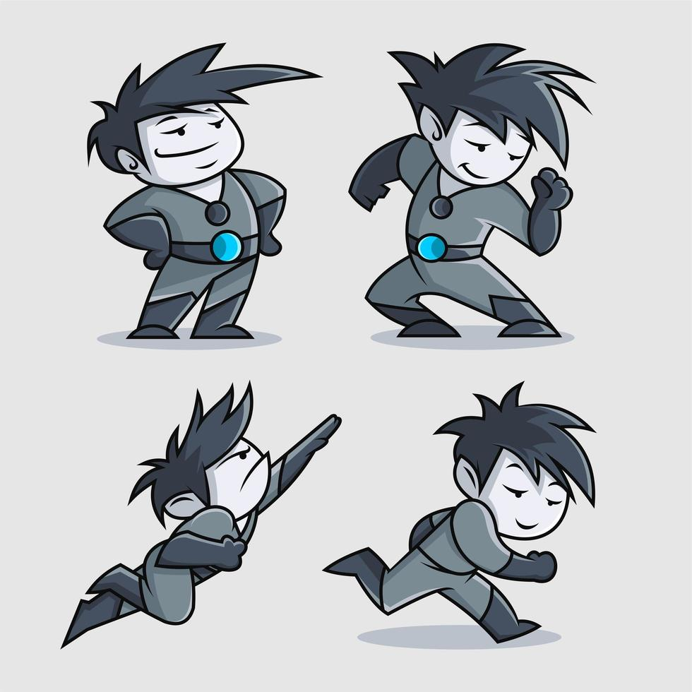 conception de personnage de dessin animé de super-héros mignon vecteur