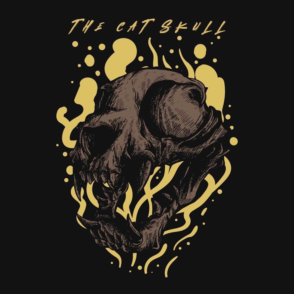conception de tshirt de crâne de chat vecteur
