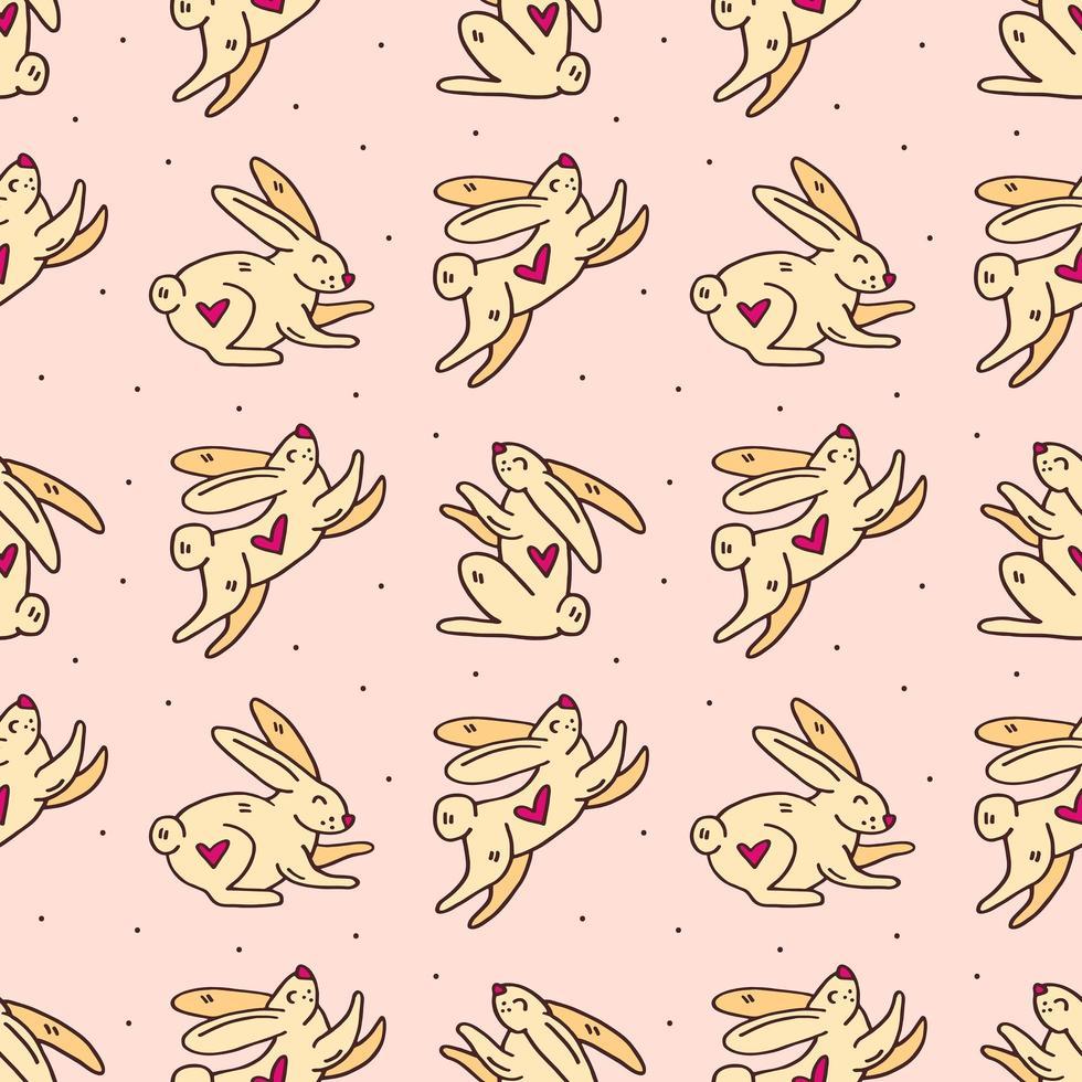 lapin de pâques modèle sans couture mignon doodle vecteur