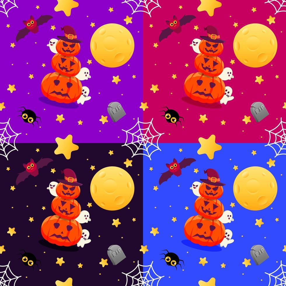 motif transparent coloré halloween avec des citrouilles et des fantômes vecteur
