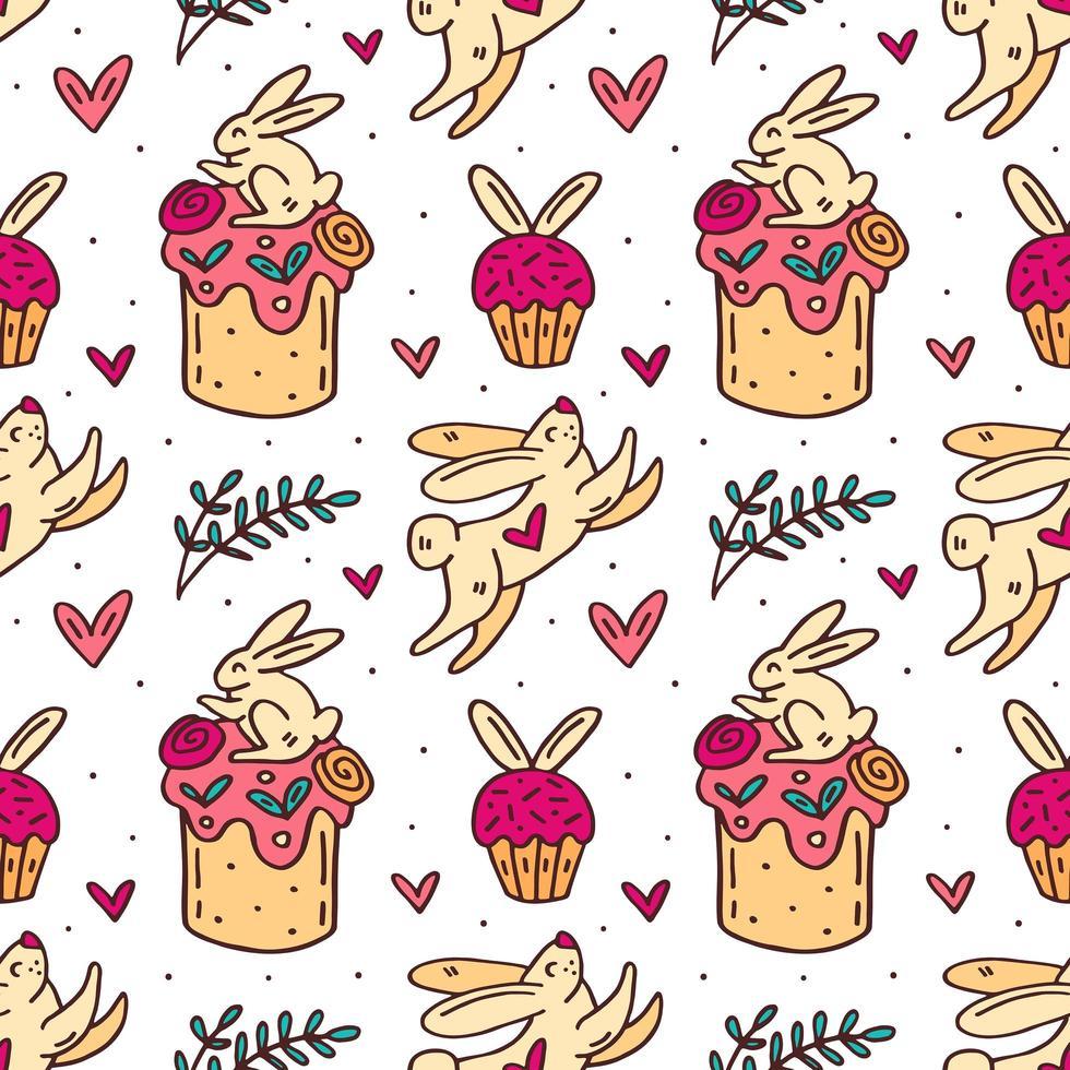 mignon lapin de pâques et gâteaux modèle sans couture dessiné à la main vecteur