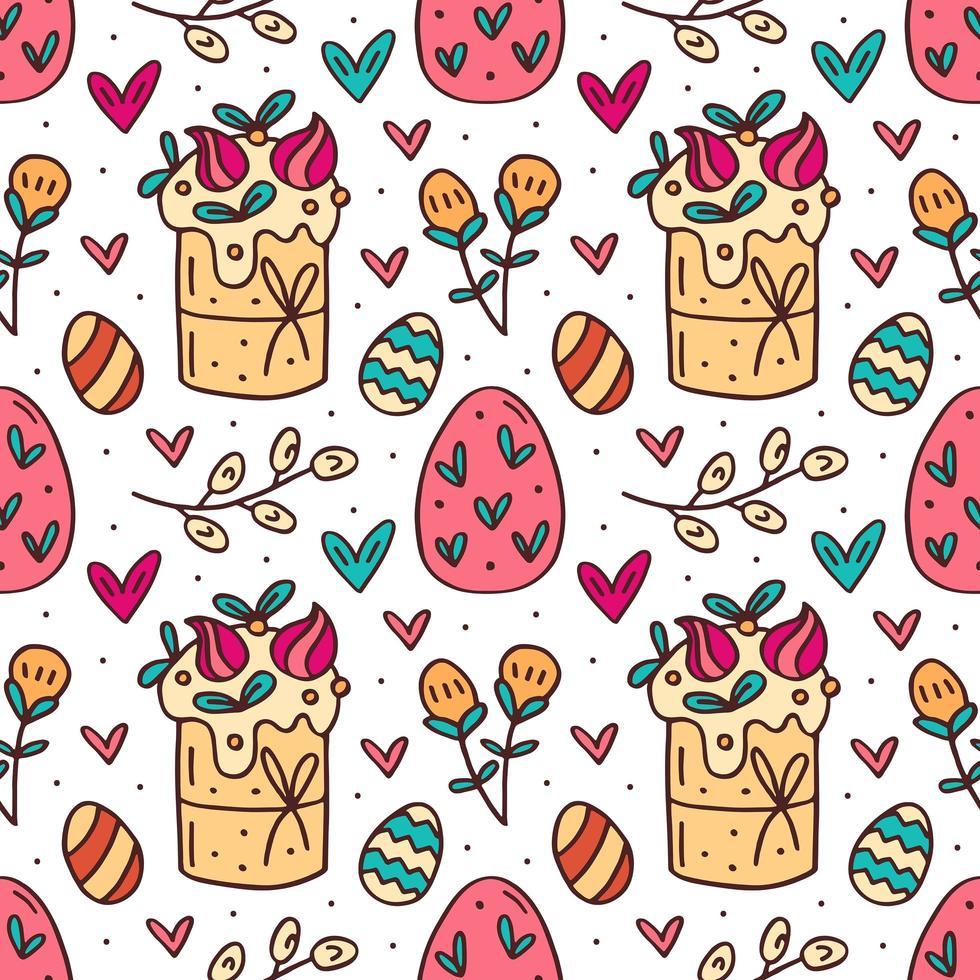 Éléments de Pâques drôles mignons dessinés à la main modèle sans couture vecteur