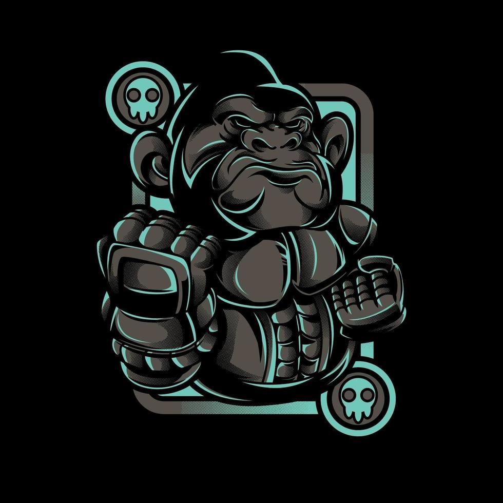 conception de tshirt de combattant de robot de singe de fer vecteur