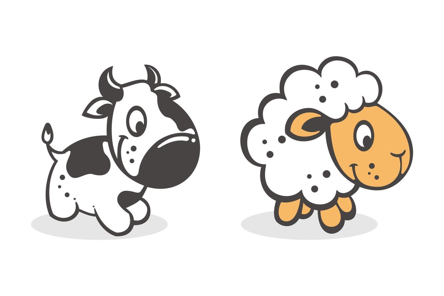 ensemble de dessin animé mignon bébé vache et chèvre vecteur