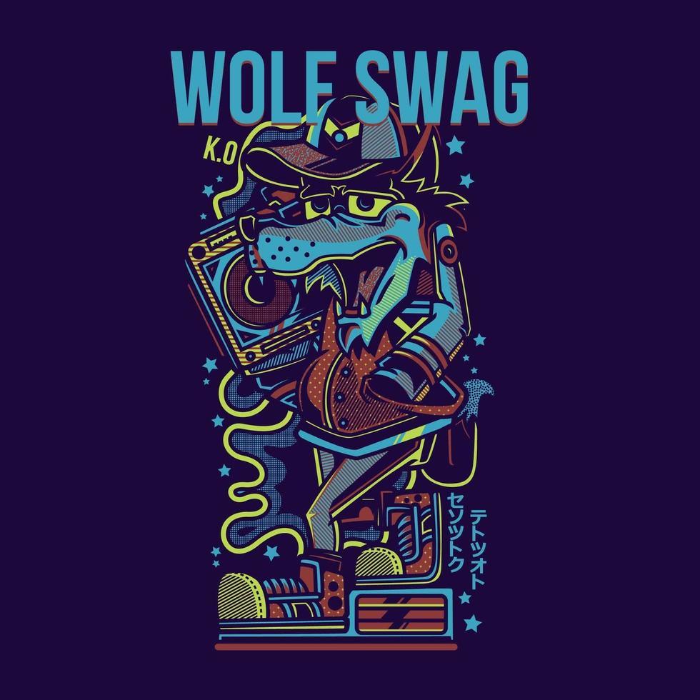 conception de tshirt swag loup vecteur
