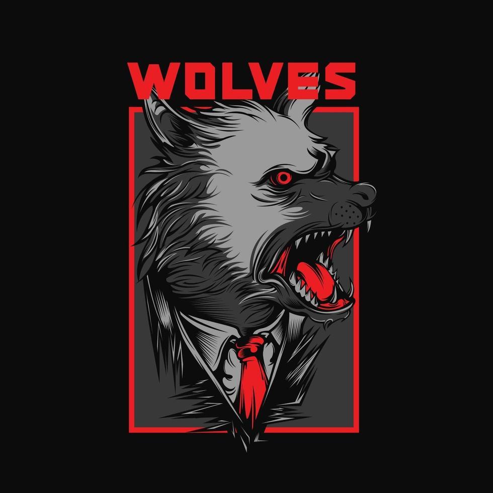 conception de tshirt loups vecteur