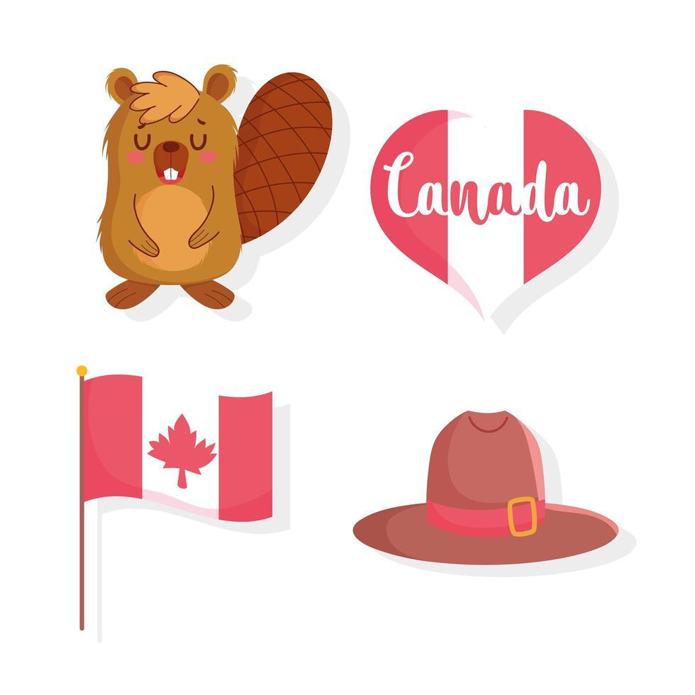 castor, drapeau, coeur et chapeau pour la fête du canada vecteur