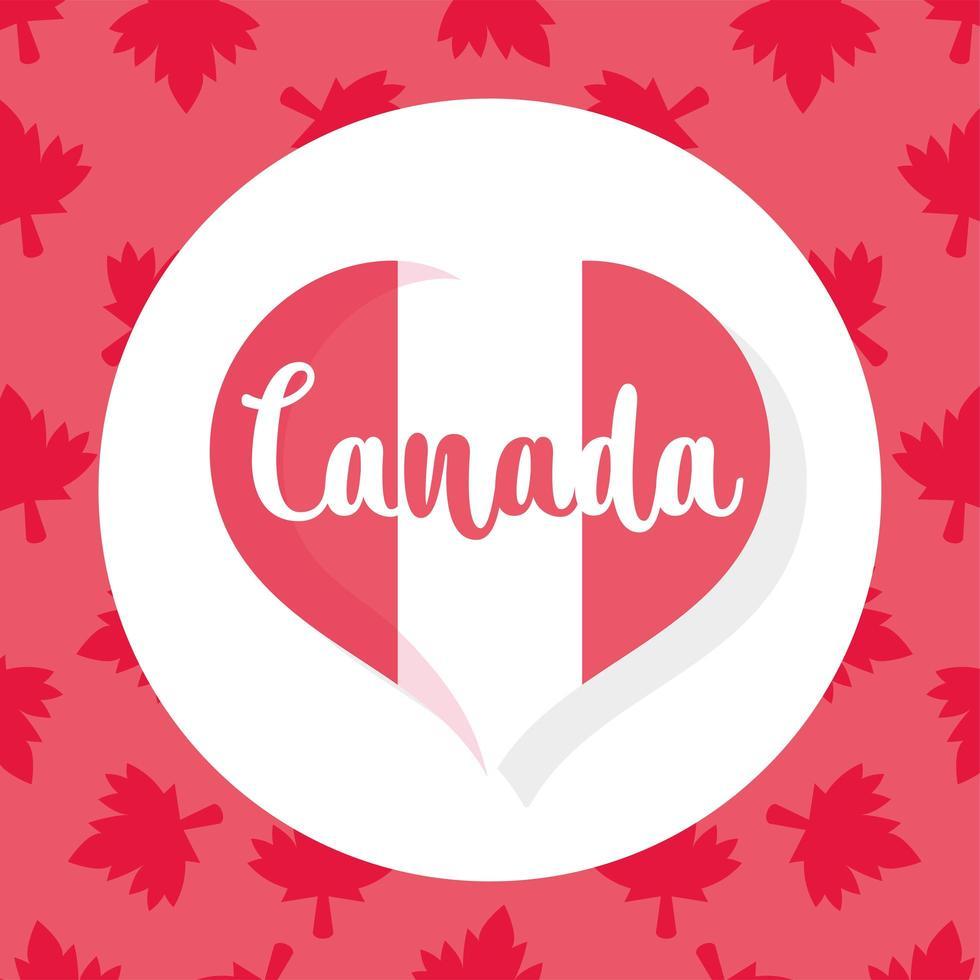 coeur de drapeau canadien pour la bonne fête du canada vecteur