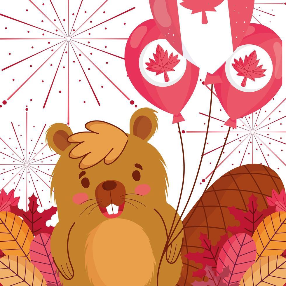 castor avec des ballons canadiens pour la bonne fête du canada vecteur