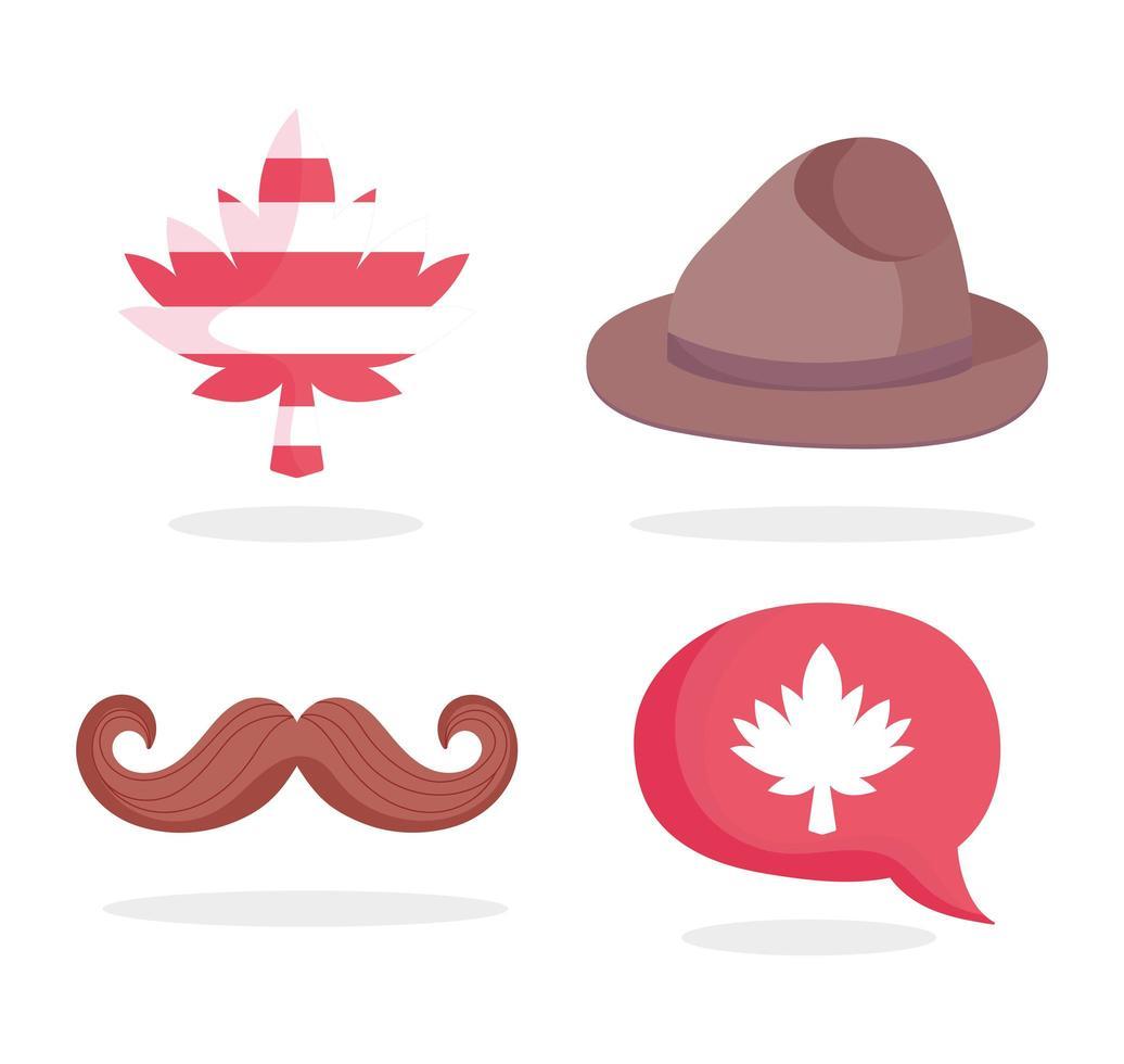 chapeau canadien, moustache, feuille d'érable et bulle de dialogue vecteur