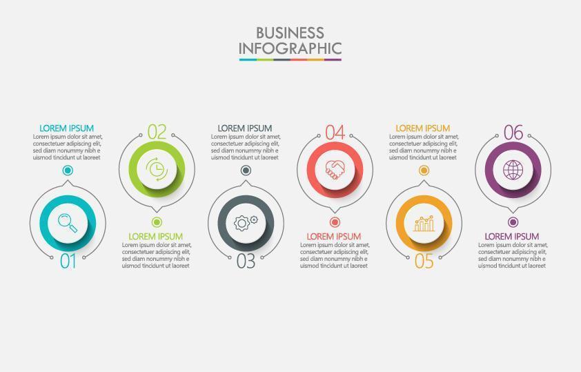 infographie avec 6 éléments de cercle numérotés vecteur