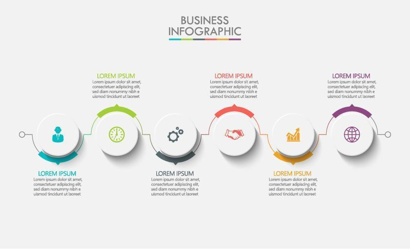 infographie avec conception de 6 icônes rondes vecteur
