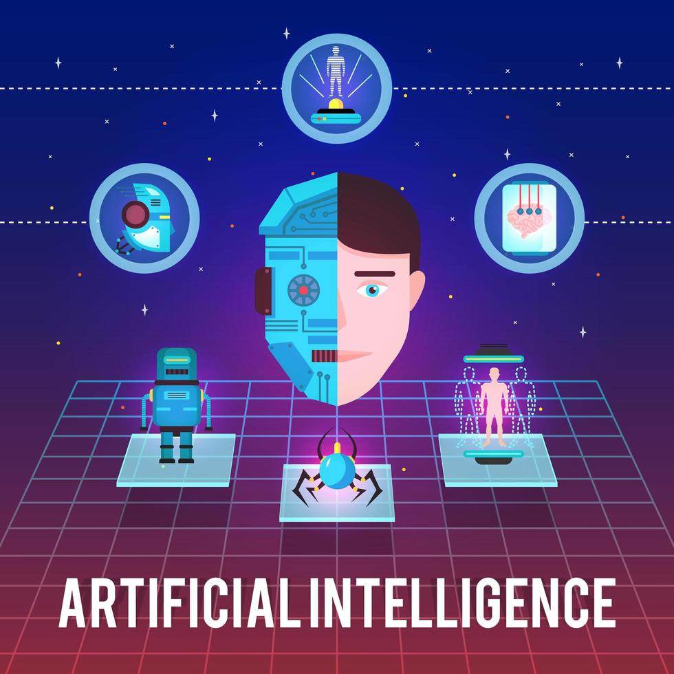 bannière d'intelligence artificielle vecteur