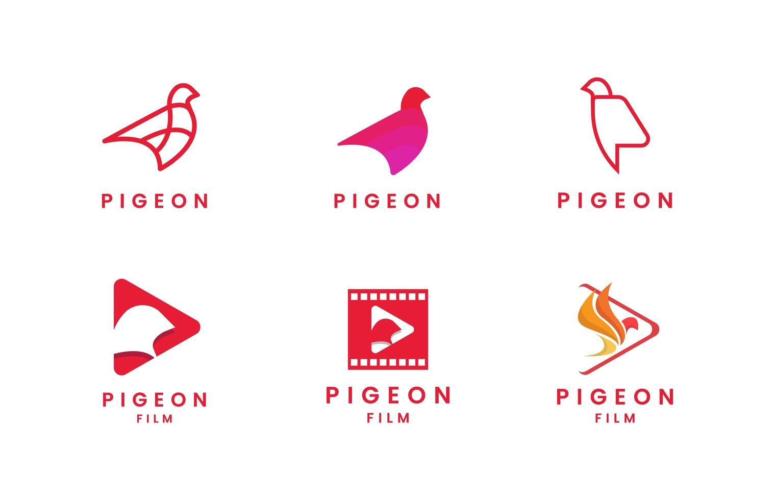 ensemble de logo pigeon plat vecteur