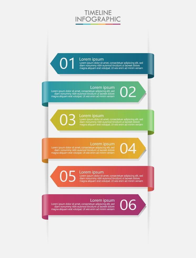 chronologie de l'infographie moderne avec des bannières colorées vecteur