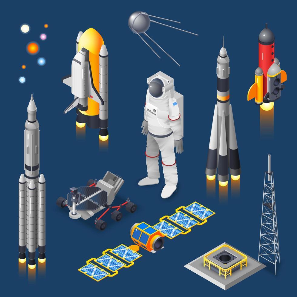 jeu d'icônes isométrique air et espace vecteur