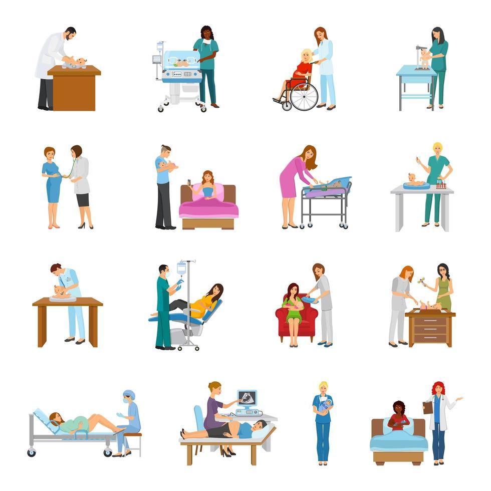 maternité à l'hôpital et ensemble de crèche vecteur