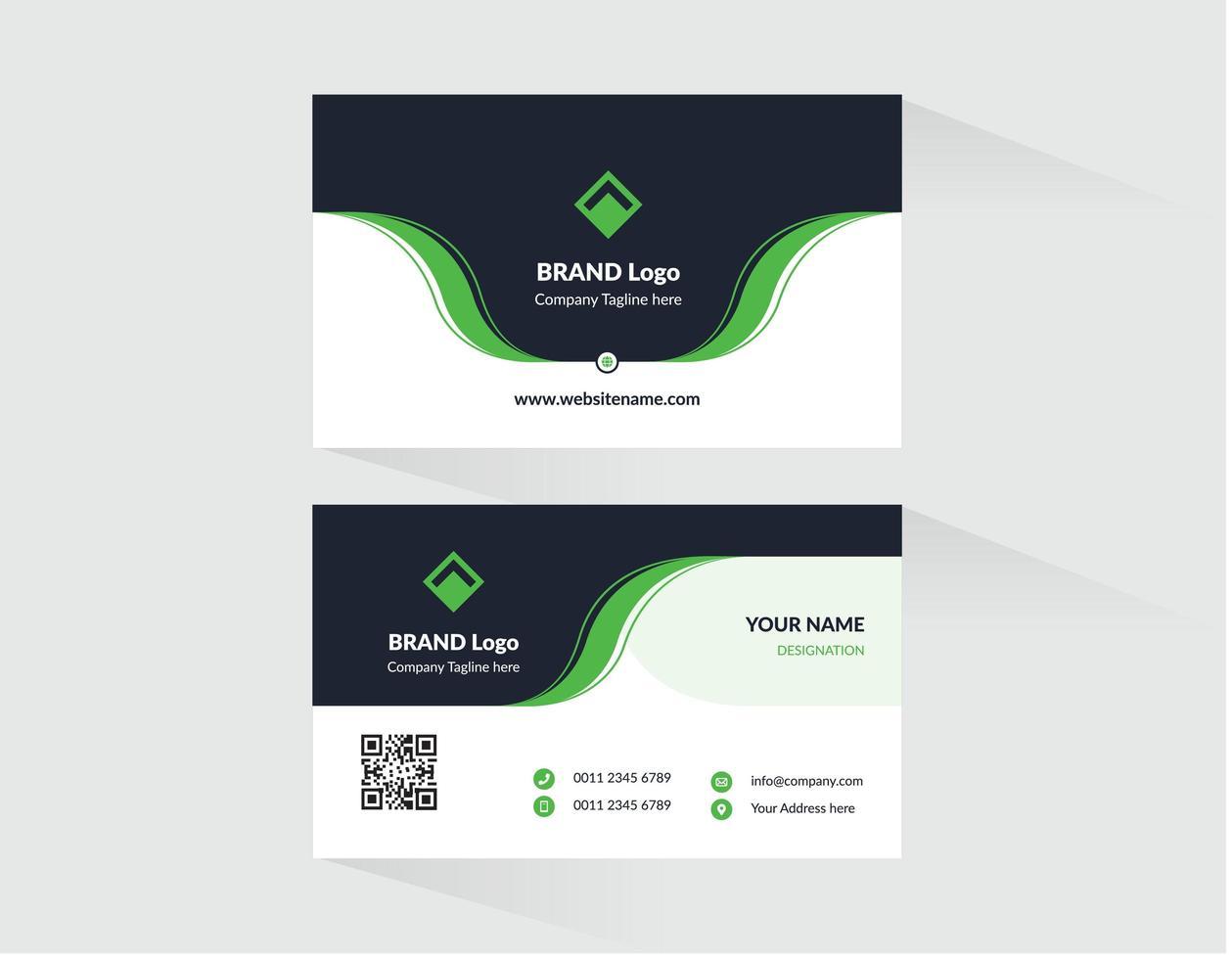 modèle de carte de visite noir avec des accents verts vecteur