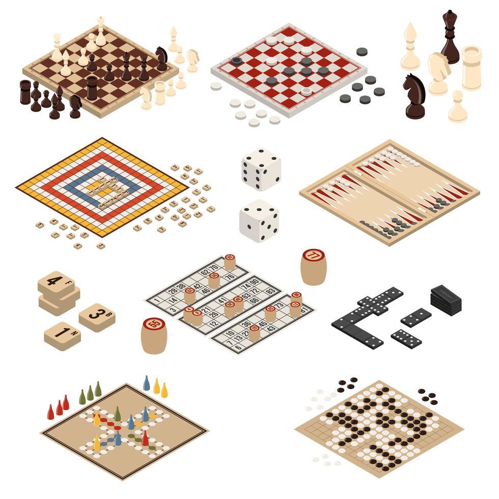 ensemble de jeux de société isométriques vecteur