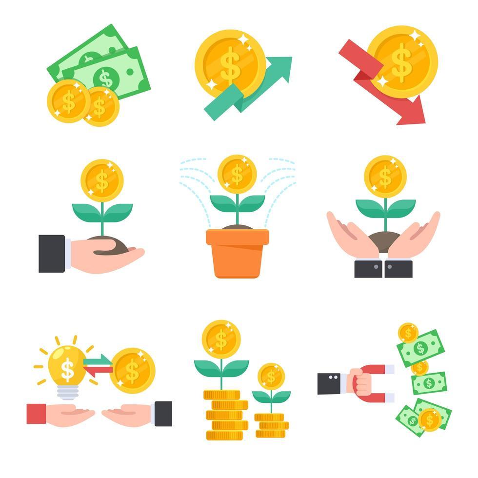 jeu d'icônes d'investissement vecteur