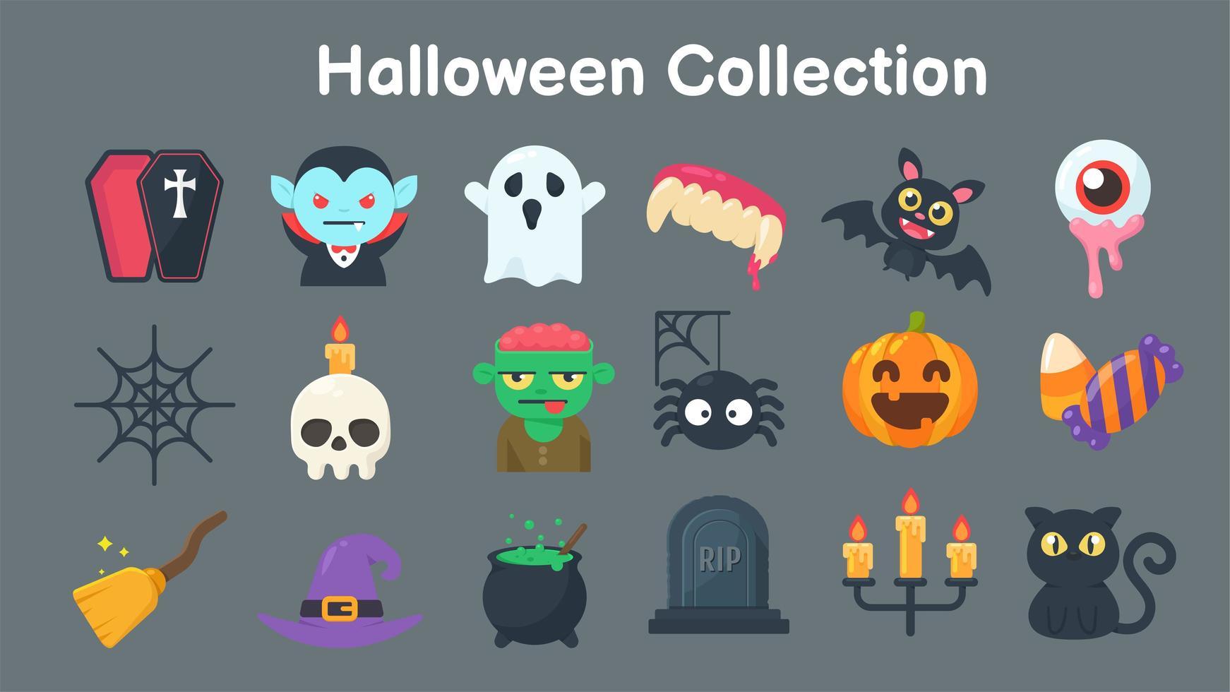 collection de fantômes et d'objets pour halloween vecteur
