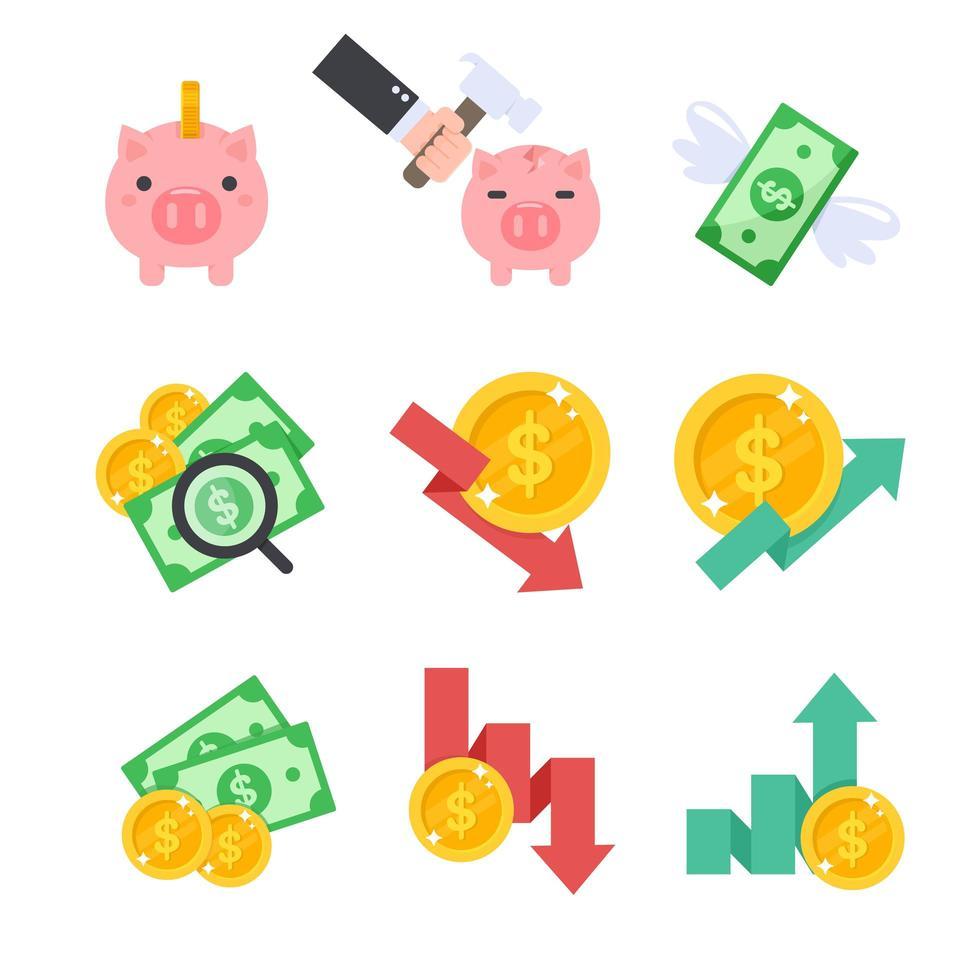 icône de finance définie dans le style de dessin animé vecteur