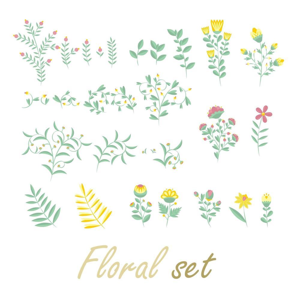 collection colorée avec des fleurs et des feuilles vecteur