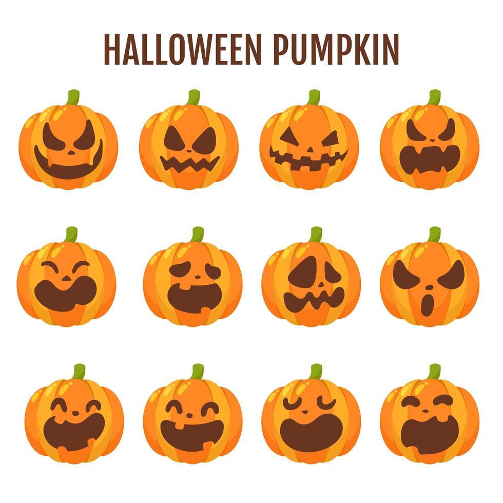 ensemble de citrouille halloween dessin animé vecteur