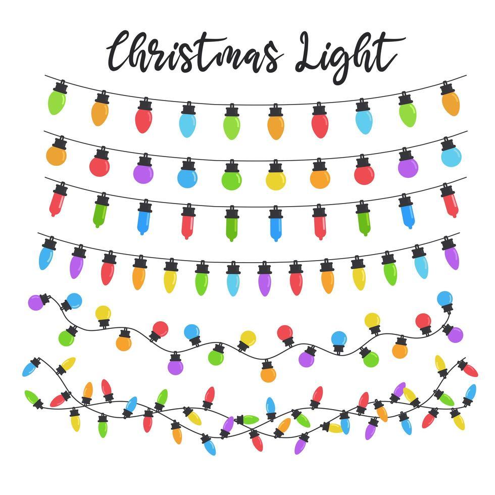 ensemble d'ampoules colorées de noël vecteur