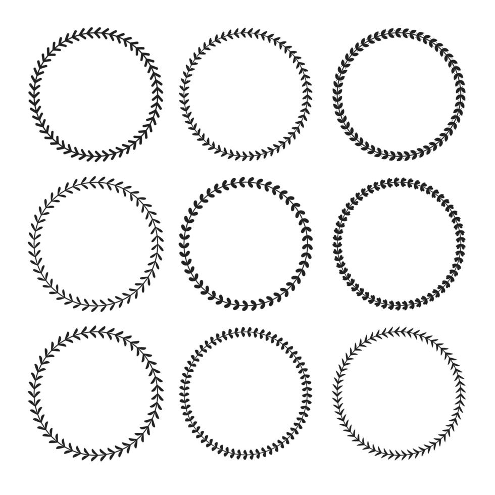 bel ensemble de cadre floral noir circulaire vecteur