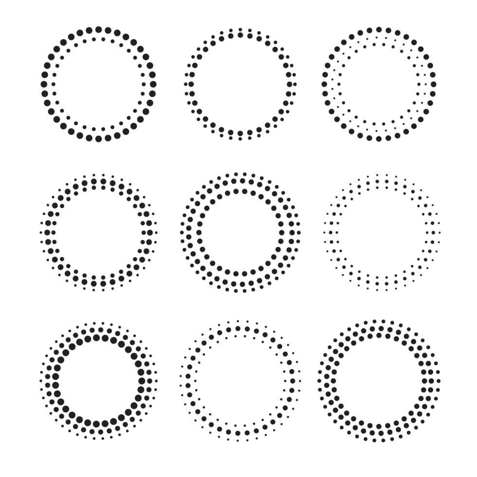 beau jeu de cadres à points circulaires vecteur