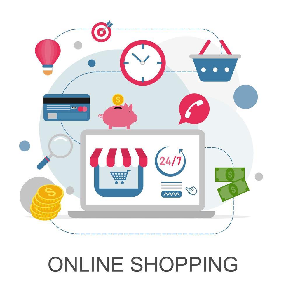 concept de magasinage en ligne et jeu d & # 39; icônes vecteur