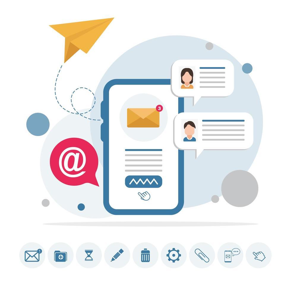 message électronique sur infographie de téléphone avec des icônes vecteur