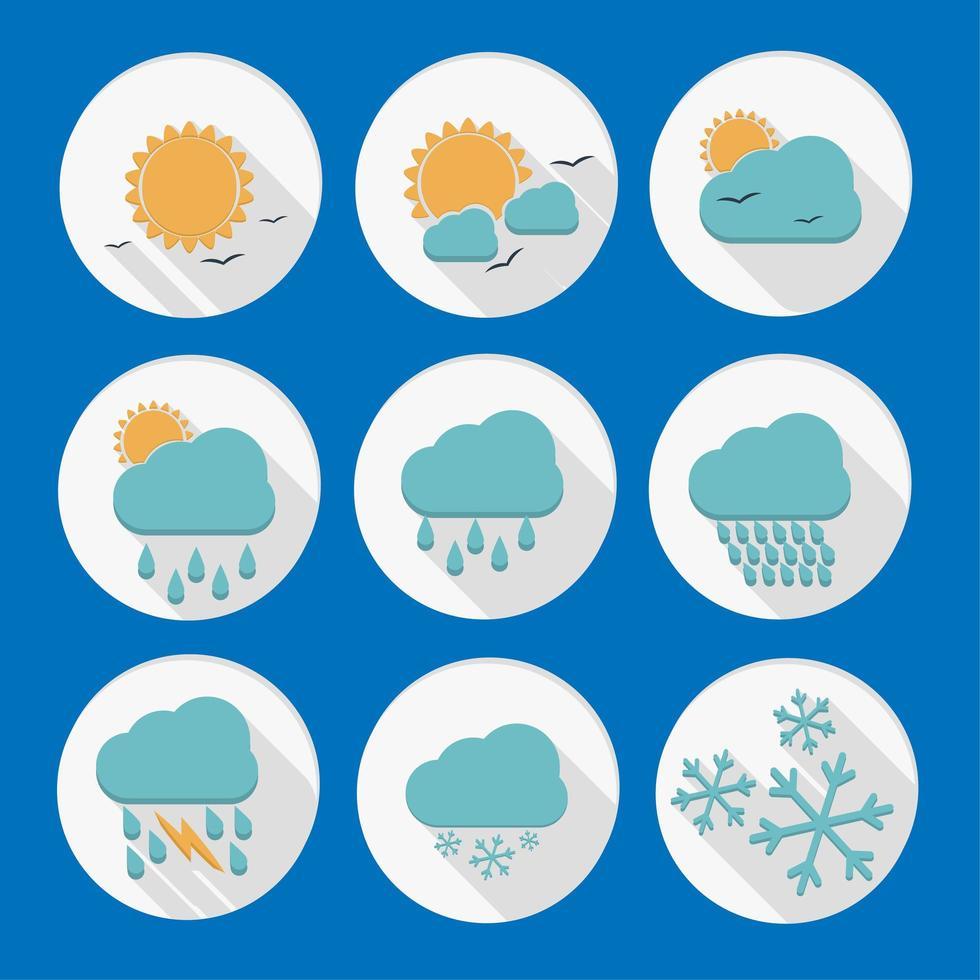 jeu d'icônes circulaire météo vecteur