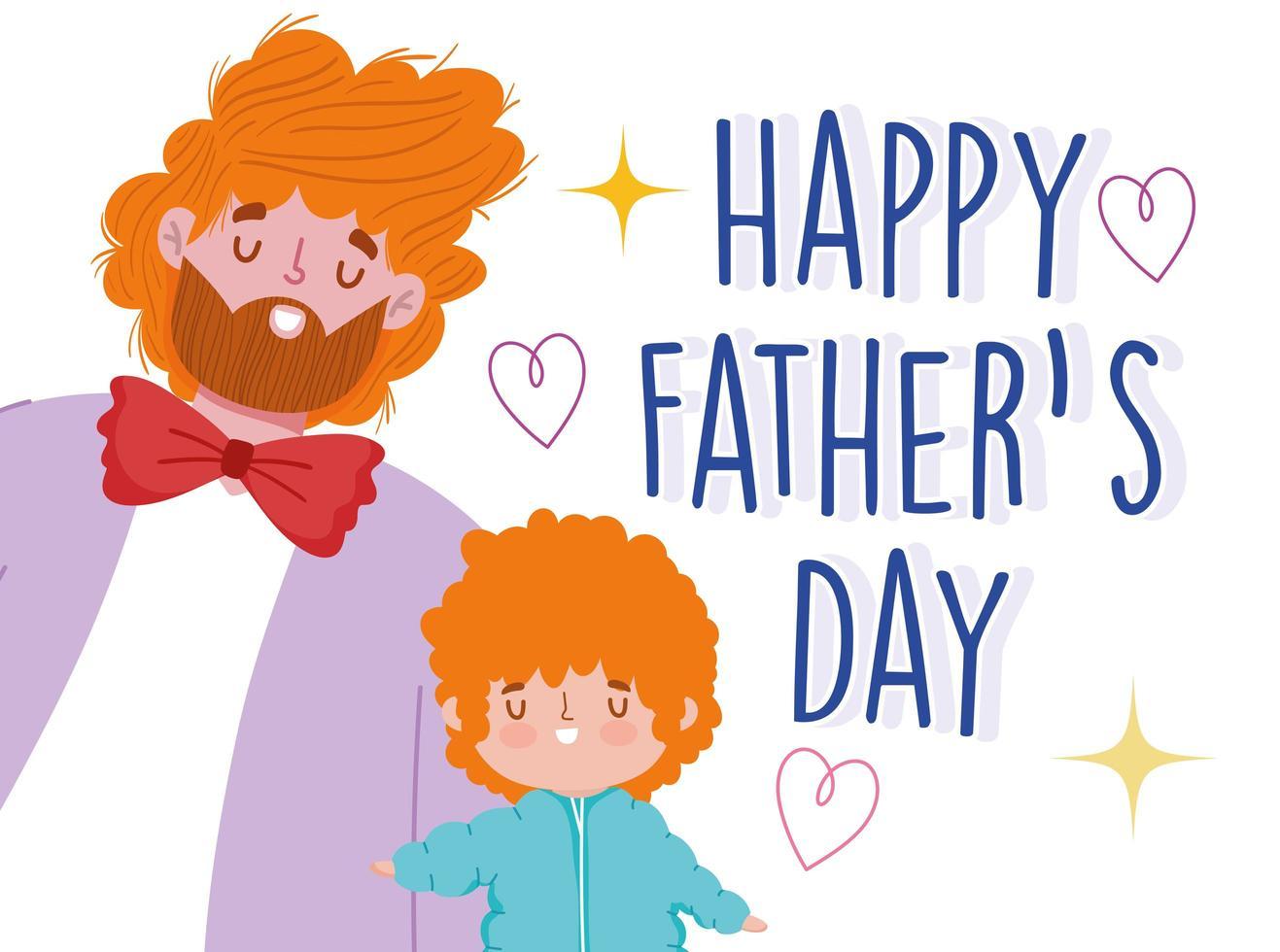 joyeuse fête des Pères. papa et fils aux cheveux bouclés vecteur