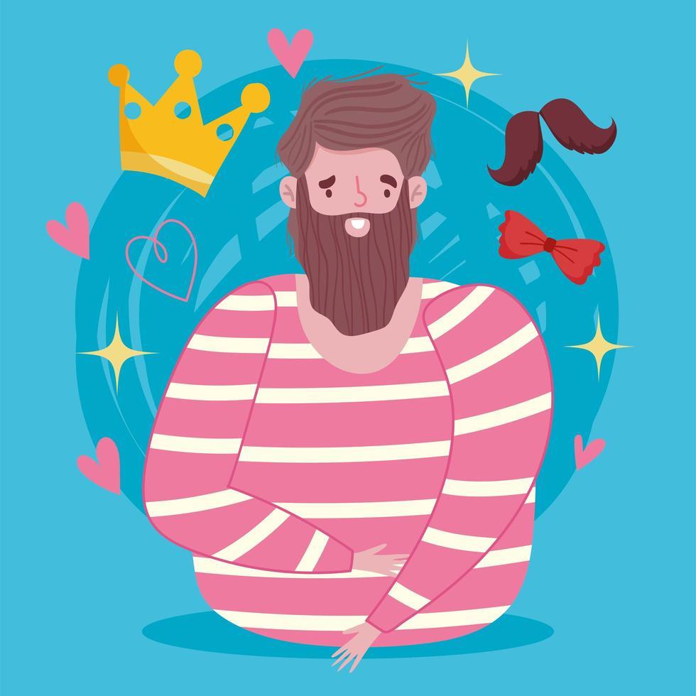 homme barbu avec couronne, moustache et nœud papillon vecteur