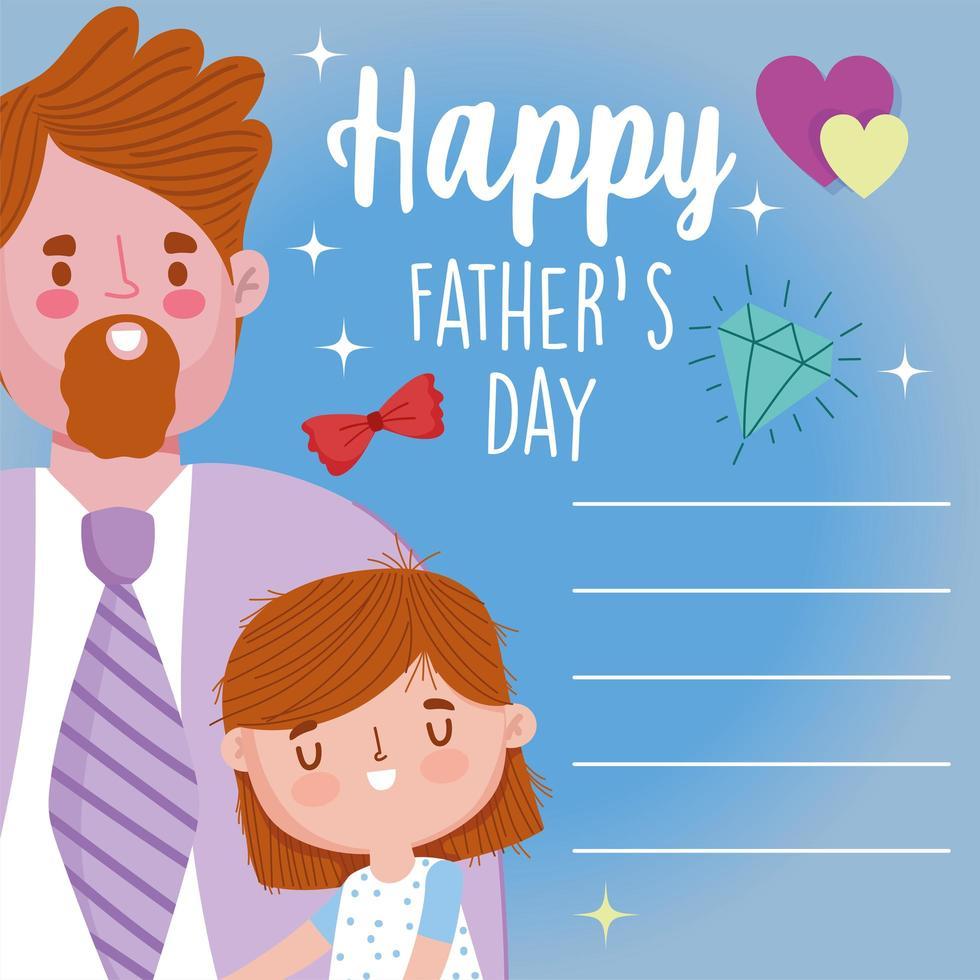 père avec fille le jour de la fête des pères vecteur