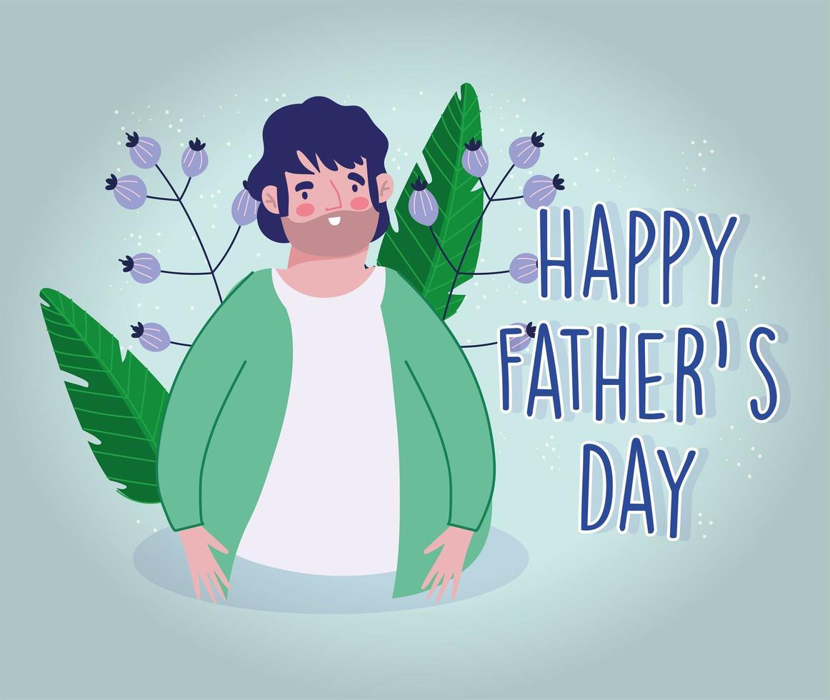 dessin animé de papa avec décoration de fleurs vecteur