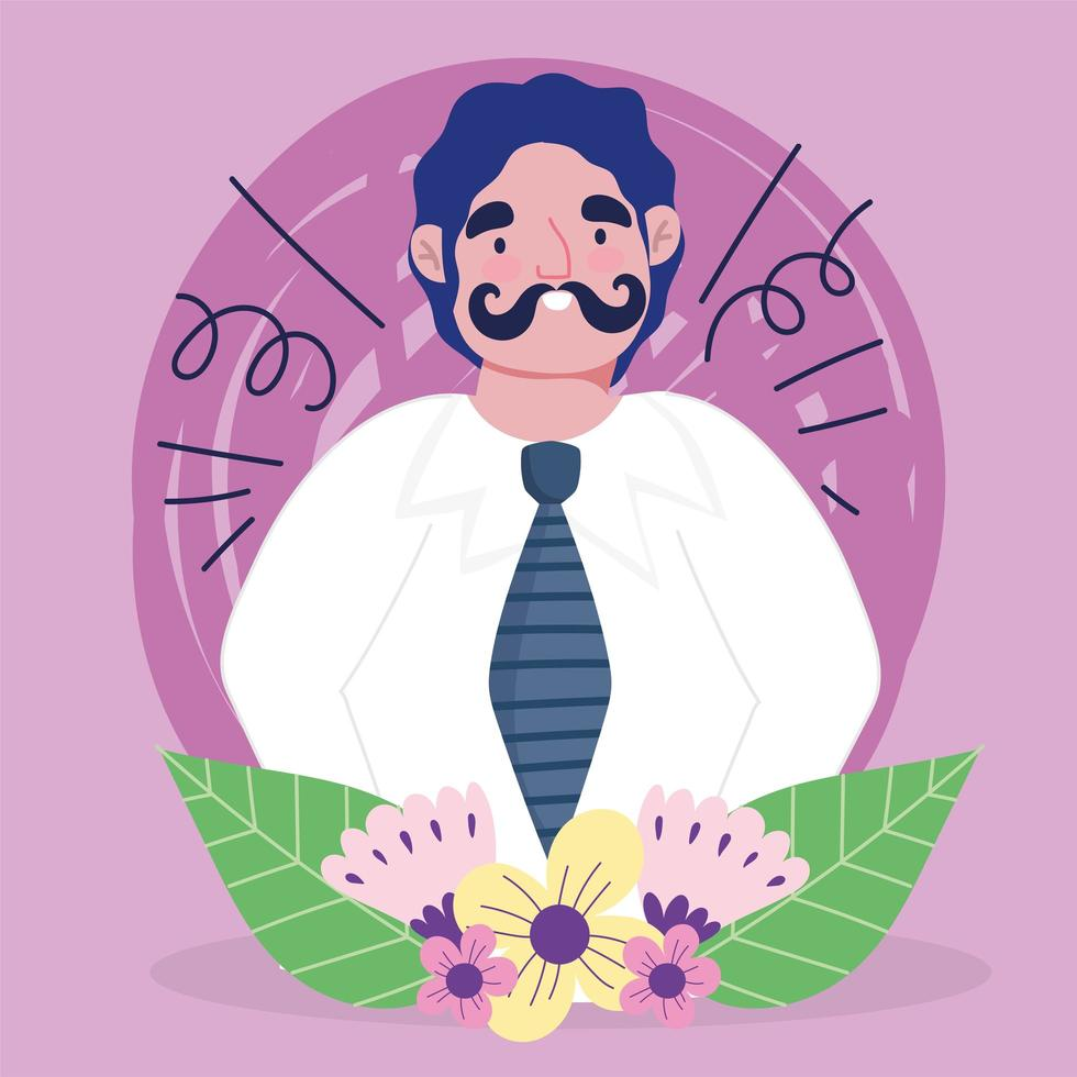 avatar homme dessin animé avec moustache vecteur