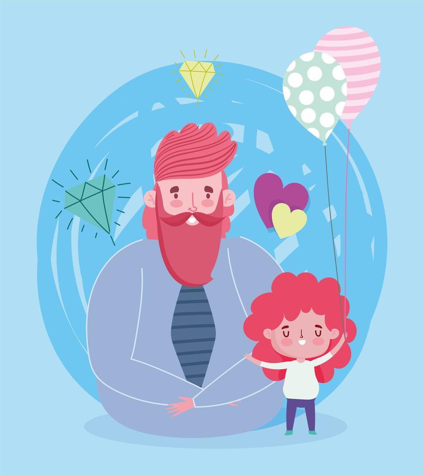 père et fille avec des ballons et des diamants vecteur