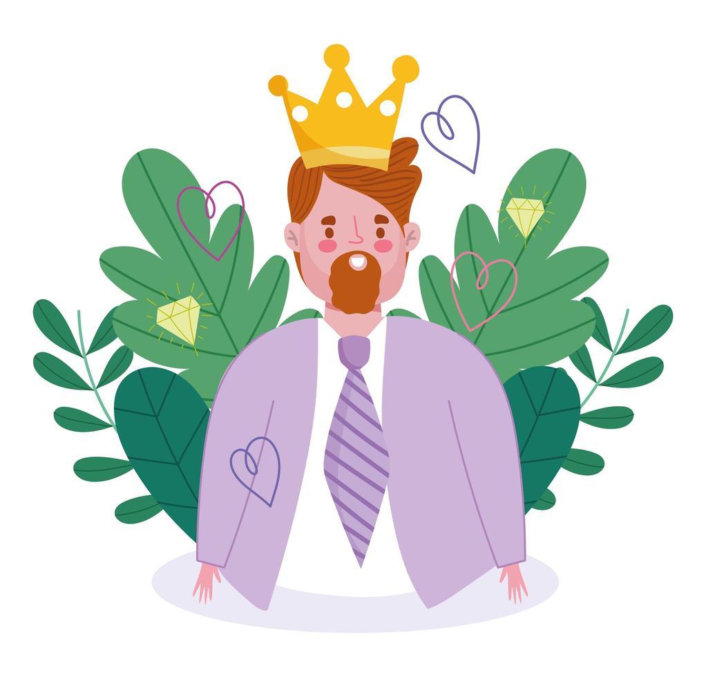 avatar homme dessin animé avec couronne vecteur