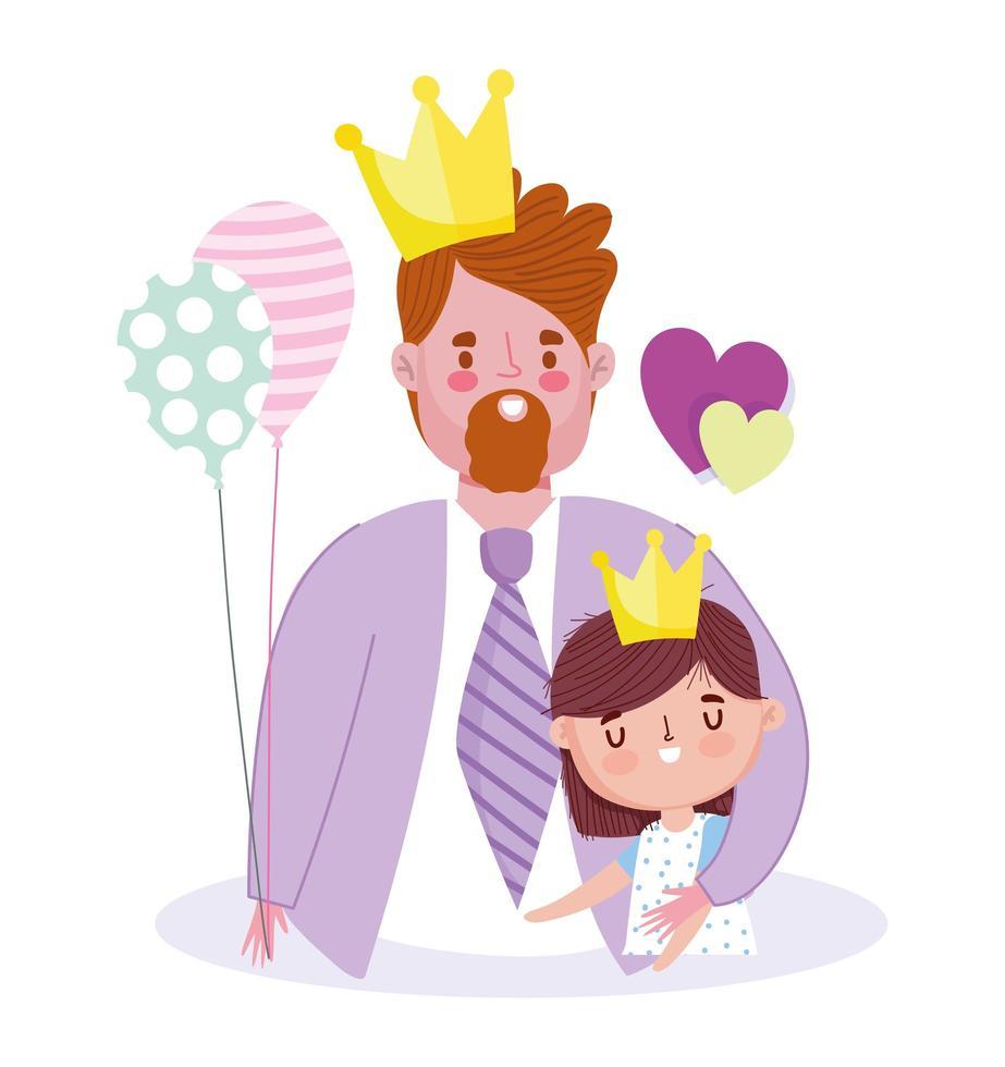 père et fille avec couronne vecteur