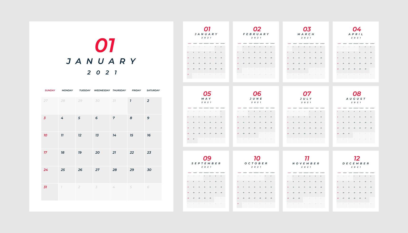 calendrier 2021, 12 mois dans un tableau minimal propre vecteur