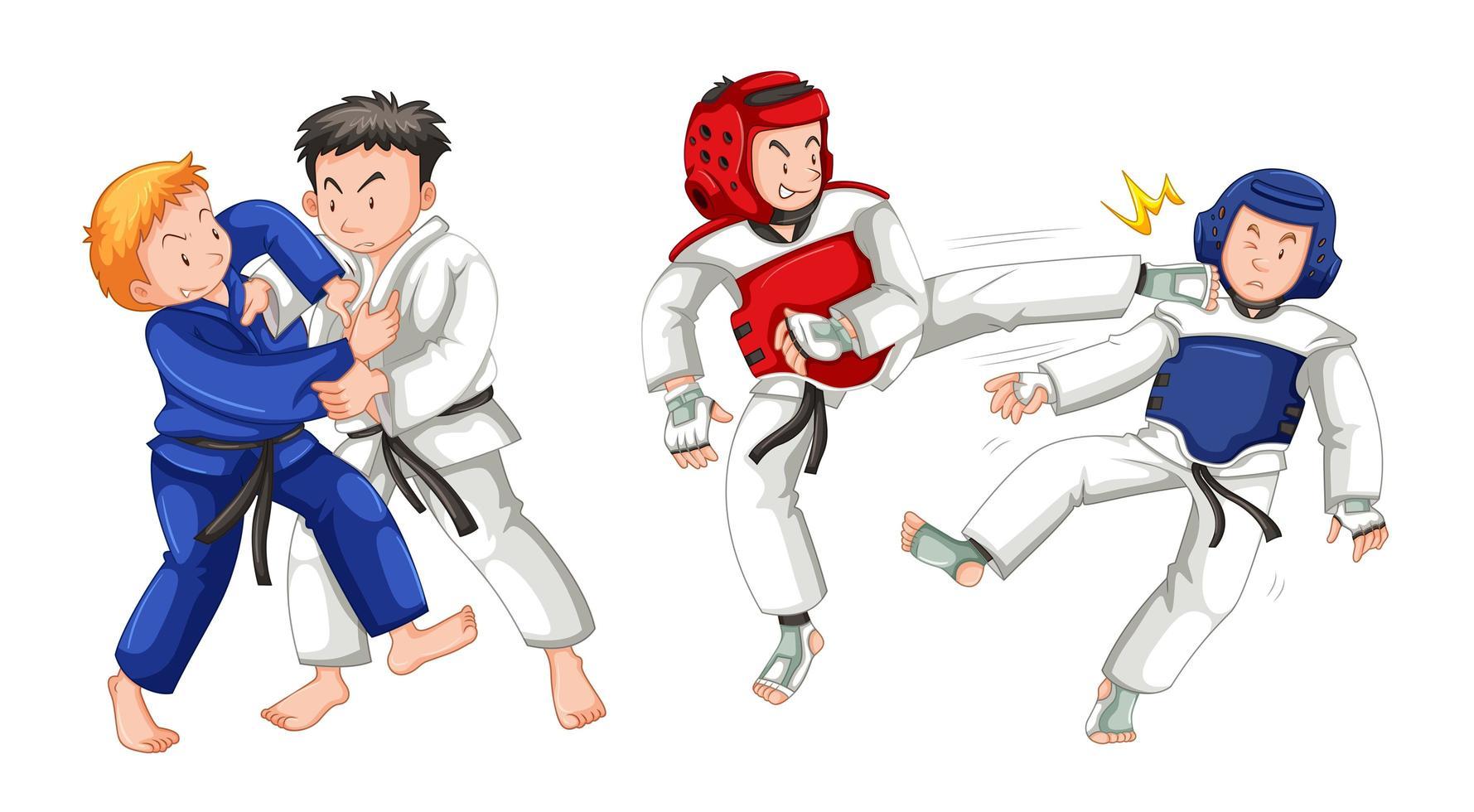 ensemble d'arts martiaux de dessin animé vecteur