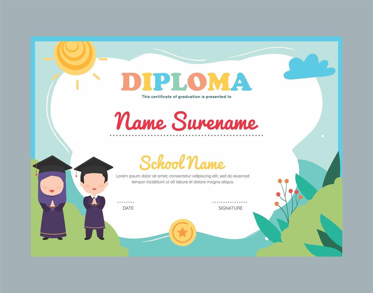 modèle de certificat de diplôme de jardin musulman pour les enfants vecteur