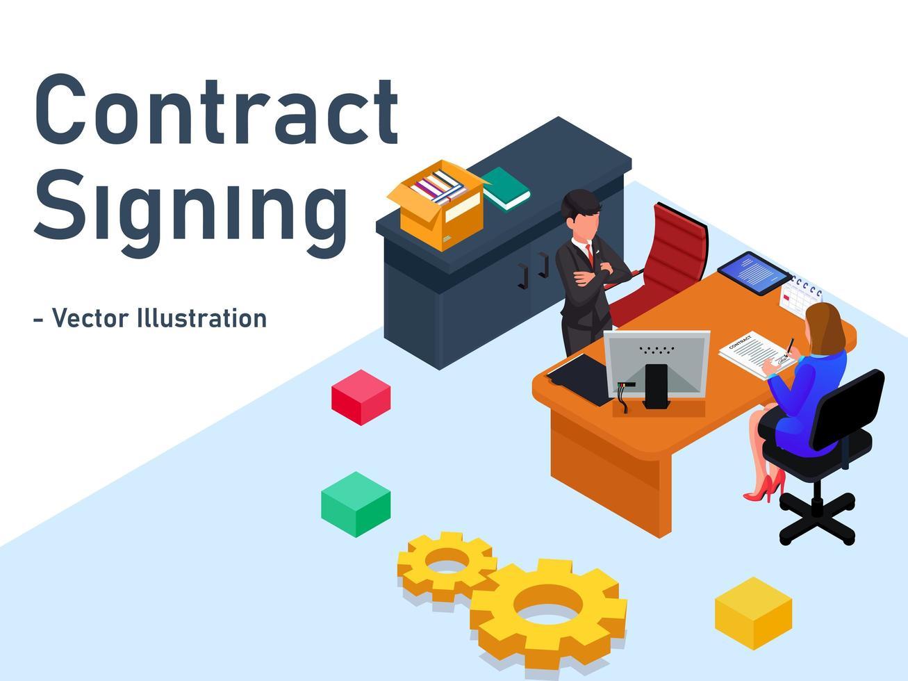 concept de page de destination de signature de contrat vecteur