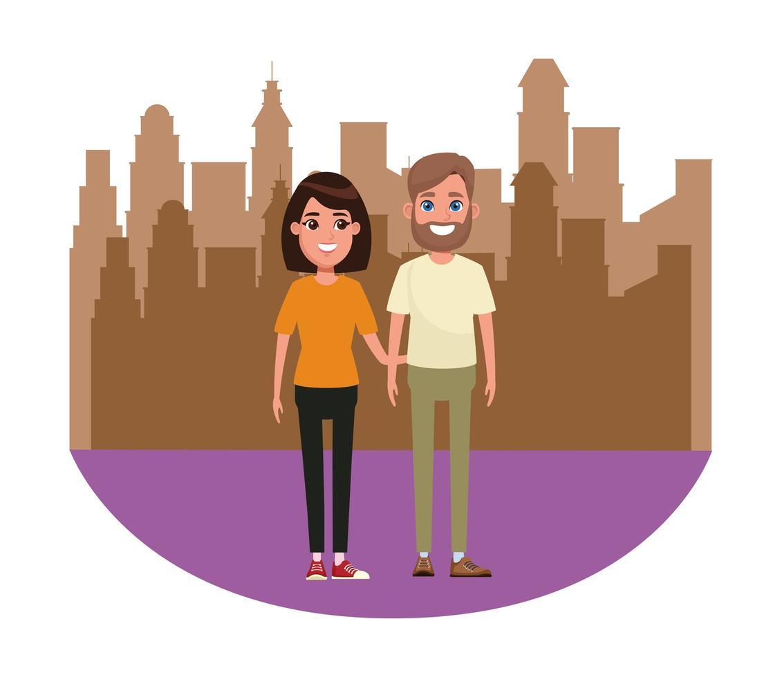 portrait de personnage de dessin animé couple avatar vecteur