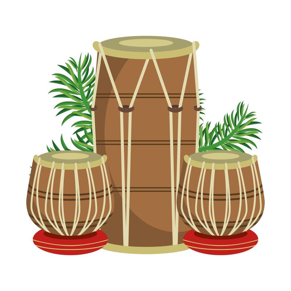 tambours de tabla indien avec des feuilles vecteur