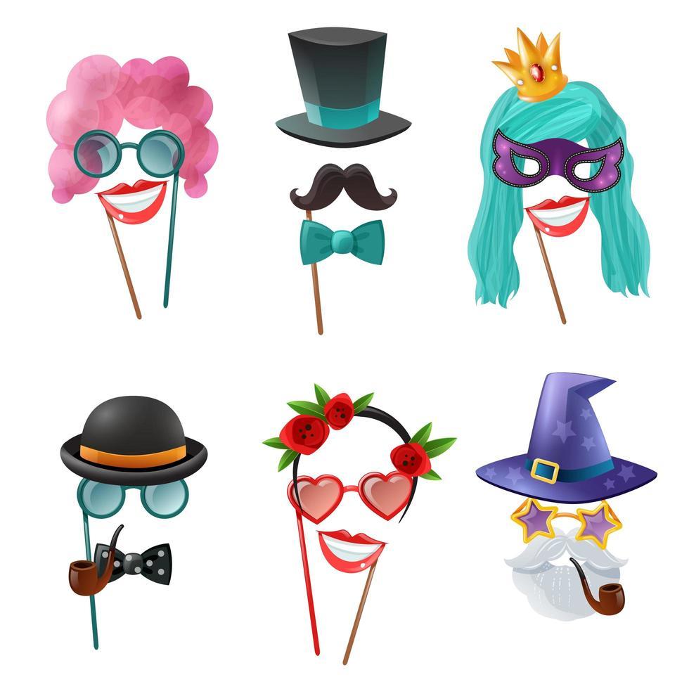 ensemble de masques et accessoires de fête de photomaton vecteur