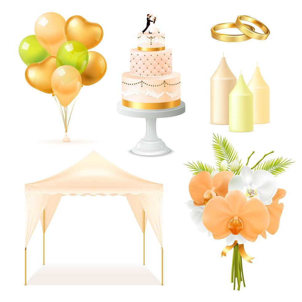 ensemble de décoration de mariage réaliste vecteur